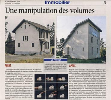 Architecte Geneve - 031 Article dans la Tribune de Genève