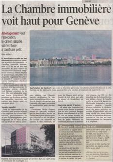 Architecte Geneve - La chambre immobilière voit haut pour Genève
