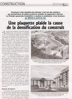 Architecte Geneve - Une plaquette plaide la cause de la densification du construit